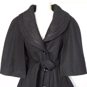 Guess Black Cape-like Belted Jacket